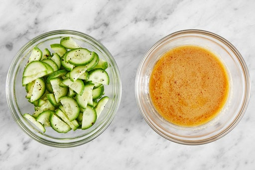Marinate the cucumber & make the dressing