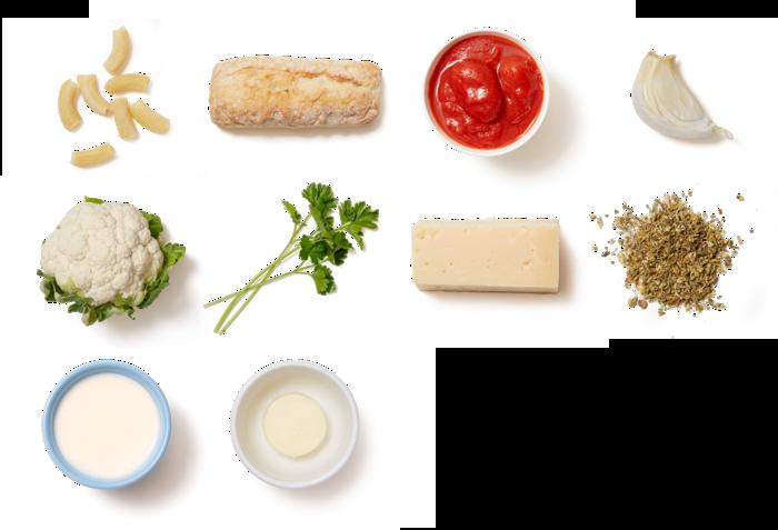 Creamy Tomato & Cauliflower Pasta with Cheesy Bread