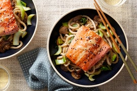 Honey & Miso-Glazed Salmon with Stir-Fried Udon Noodles & Bok Choy