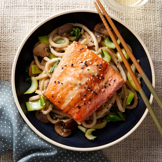 Honey & Miso-Glazed Salmon with Stir-Fried Udon Noodles & Bok Choy