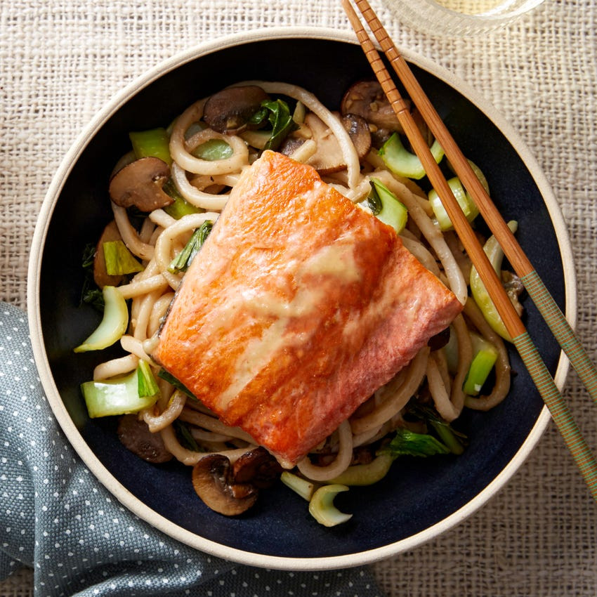 Honey & Miso-Glazed Salmon with Udon Noodles & Bok Choy