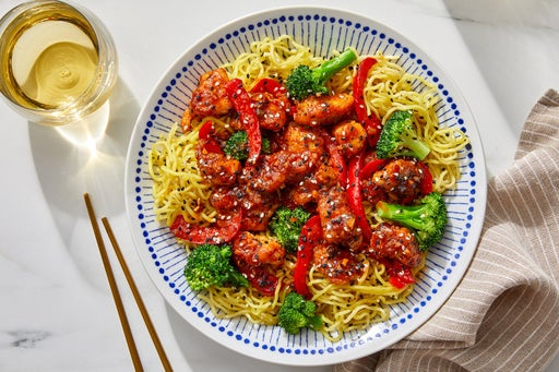 General Tso's Chicken over Ramen Noodles & Broccoli