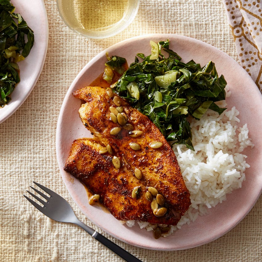 Orange & Brown Butter Tilapia with Collard Greens & Garlic Rice