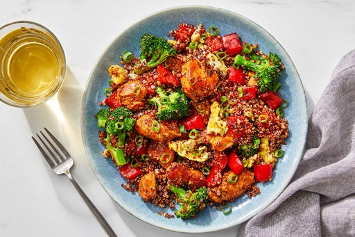 "Sambal Chicken & Quinoa ""Fried Rice"" with Broccoli & Bell Pepper"