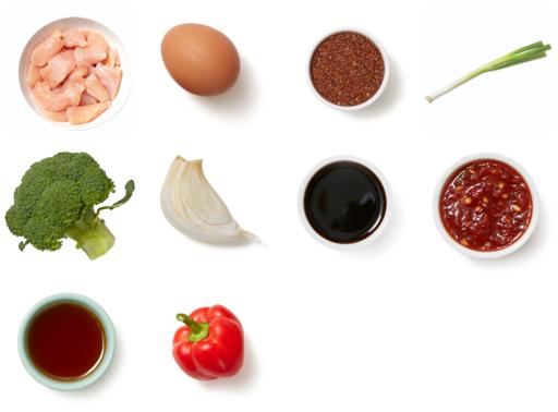"Sambal Chicken & Quinoa ""Fried Rice"" with Broccoli & Bell Pepper"
