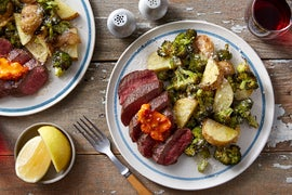 Chile Butter Steaks with Lemon-Parmesan Broccoli & Potatoes