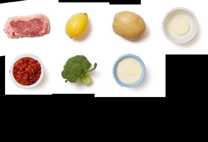 Chile Butter Steaks with Lemon-Parmesan Broccoli & Potatoes