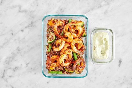 Assemble & Store the Shrimp & Creamy Guacamole