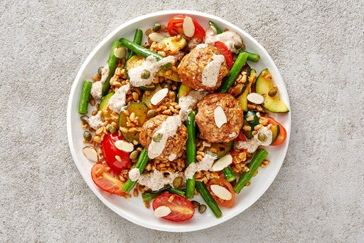 Finish & Serve the Turkey Meatballs & Veggie Farro