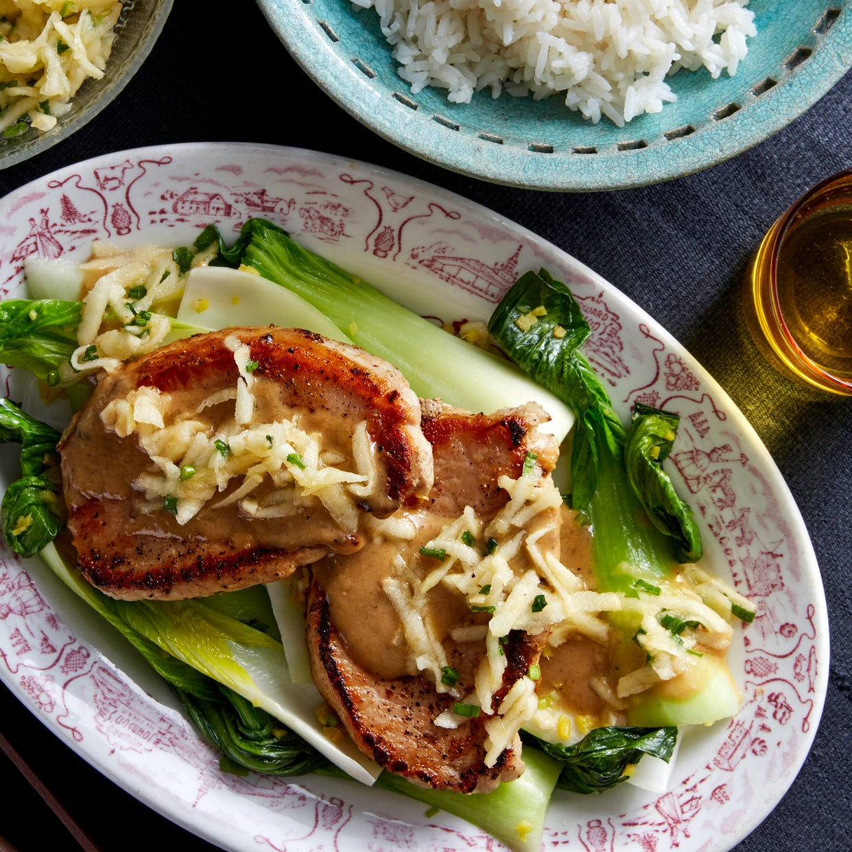 Miso-Butter Pork Chops with Marinated Apple & Bok Choy