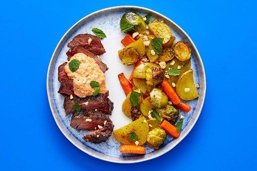 Finish & Serve the Steak & Roasted Vegetables