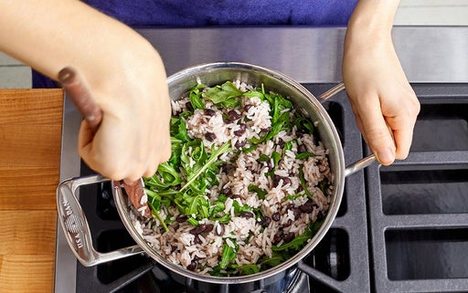 Cook the rice, beans & arugula