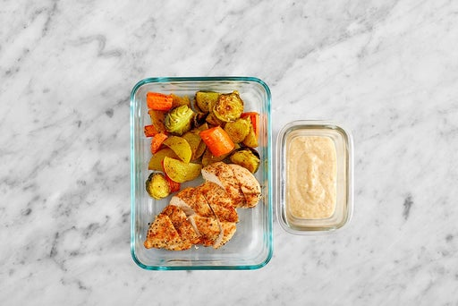 Assemble & Store the Roasted Chicken & Vegetables