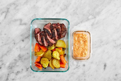 Assemble & Store the Steak & Roasted Vegetables