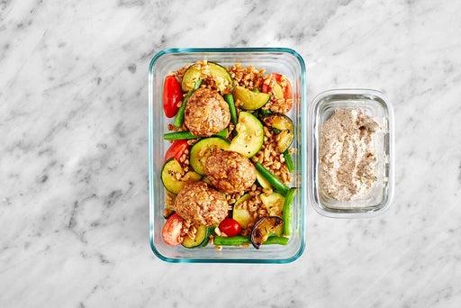 Assemble & Store the Turkey Meatballs & Veggie Farro