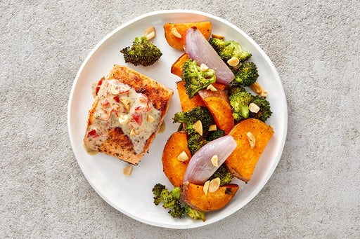 Finish & Serve the BBQ Salmon & Roasted Vegetables