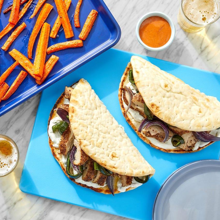 Sheet Pan Za'atar Chicken Pitas with Carrot Fries & Harissa Mayo