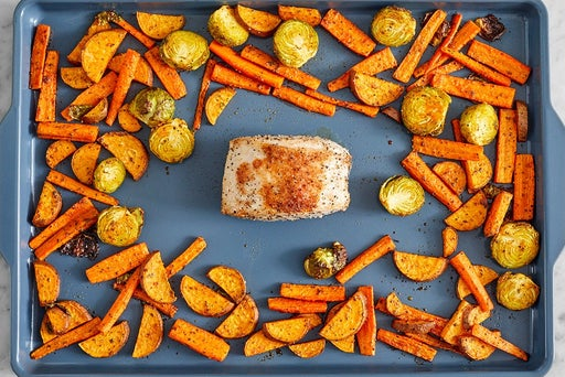 Roast the pork & vegetables