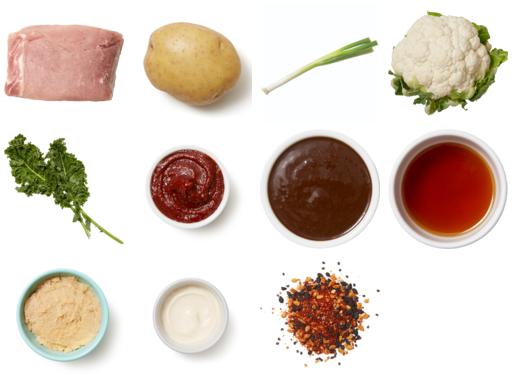 Sweet & Spicy Pork Roast with Miso Kale & Togarashi Vegetables
