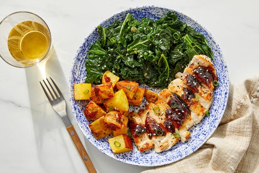 Chicken & Black Bean-Chile Sauce with Spicy Roasted Potatoes & Ponzu Kale