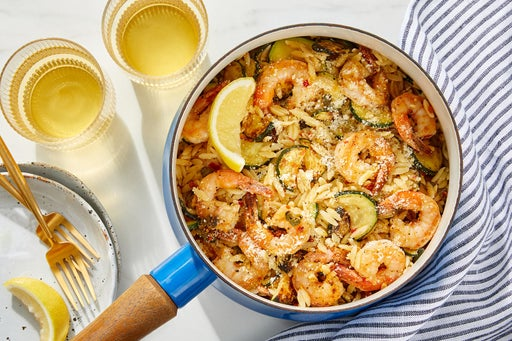 Calabrian Shrimp & Orzo with Zucchini & Parmesan