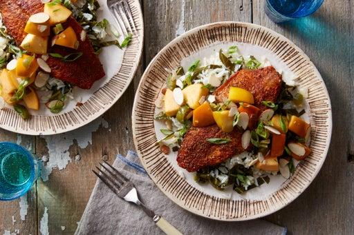 Baked Cajun Catfish with Marinated Persimmon & Collard Green Rice
