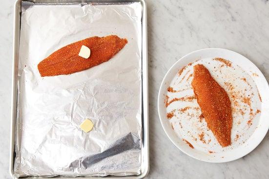 Prepare & bake the fish:
