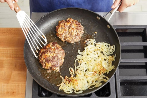Cook the patties & caramelize the onion