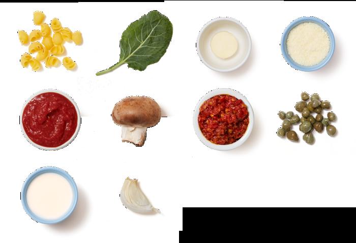 Creamy Tomato Pasta with Mushrooms & Collard Greens