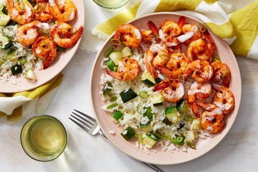 Cajun Shrimp with Zucchini Rice  & Creamy Dressing