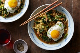 Shiitake & Black Garlic Ramen with Fried Eggs & Kale