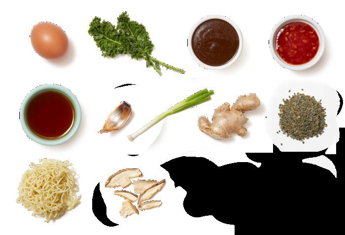 Shiitake & Black Garlic Ramen with Fried Eggs & Kale