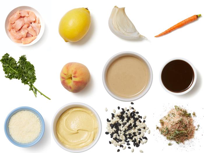 Seared Chicken & Kale Salad with Peach & Sesame-Dijon Dressing