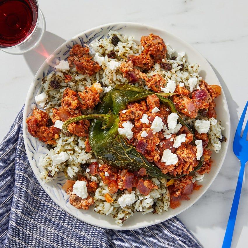 Mediterranean Turkey Stuffed Peppers with Feta & Salsa Verde Rice
