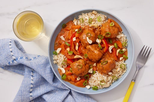 Ginger Turkey Meatballs with Tomato-Coconut Curry & Brown Rice