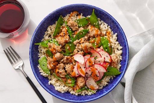 Spicy Tahini Turkey & Rice Bowls with Snow Peas & Marinated Radishes