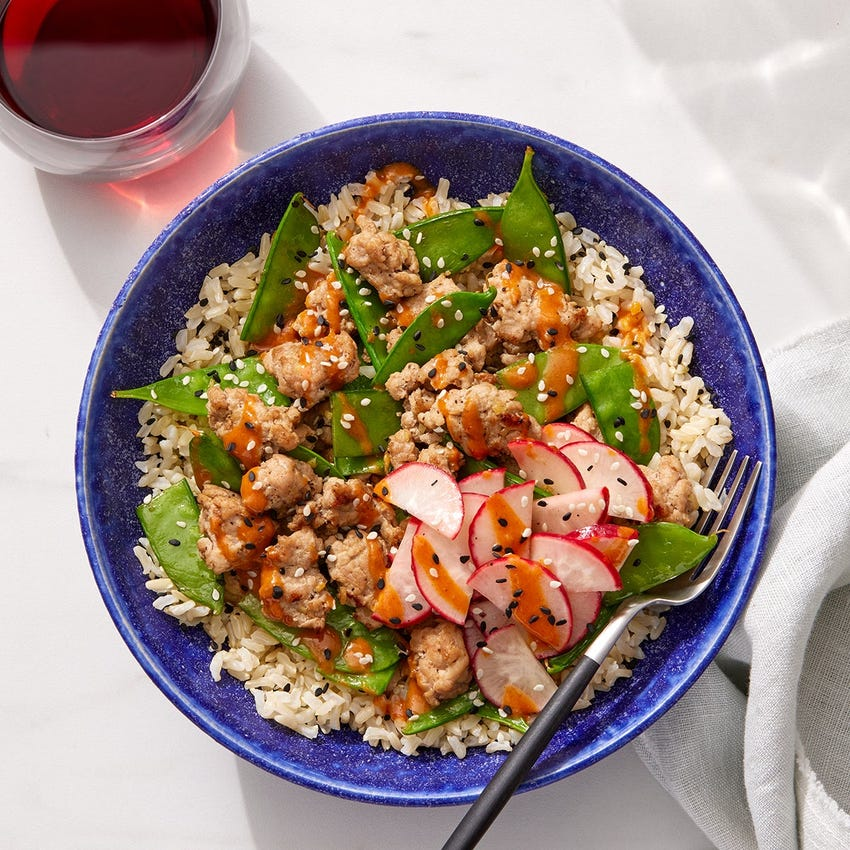 Spicy Tahini Turkey & Rice Bowls with Snow Peas & Marinated Radishes