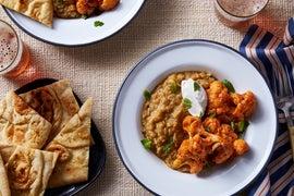 Curried Cauliflower & Lentils with Garlic Naan