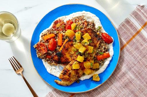 Tilapia & Jalapeño-Orange Salsa over Vegetable Quinoa & Spiced Yogurt