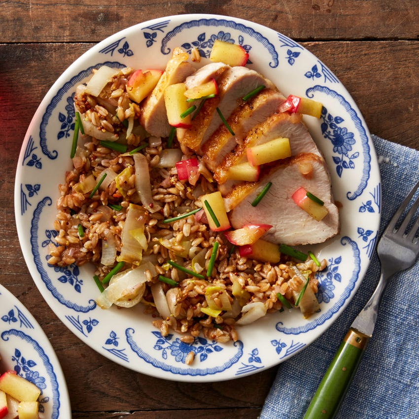 Roasted Turkey Breast & Farro-Endive Salad with Brown Butter Apple Compote