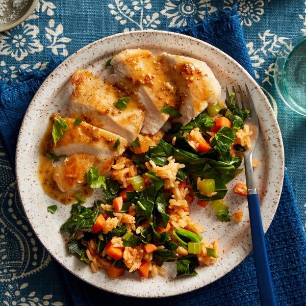 Chicken & Paprika-Spiced Rice with Mustard Pan Sauce & Collard Greens