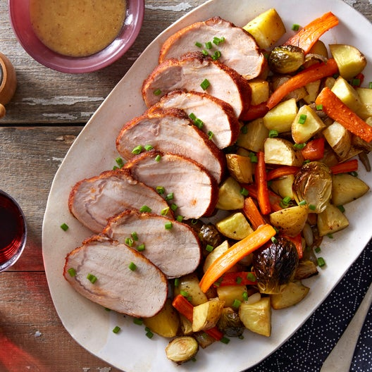 Sheet Pan Roasted Pork with Fall Vegetables & Creamy Maple Mustard Sauce