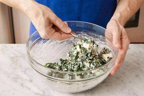 Cook the kale & make the filling: