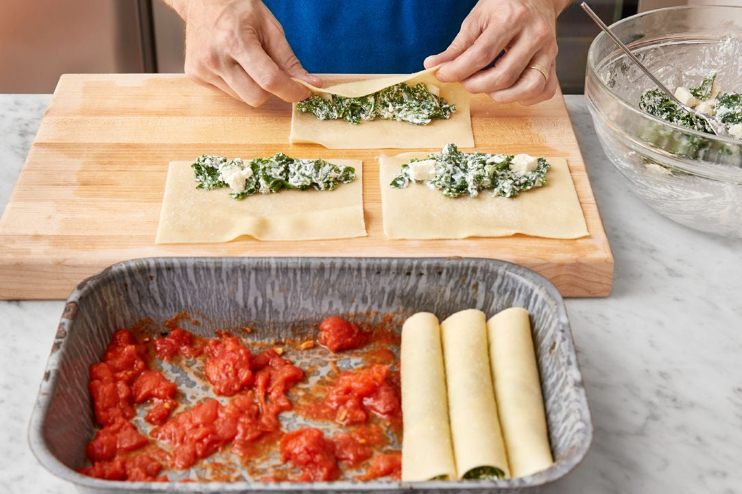 Cook the pasta & assemble the cannelloni: