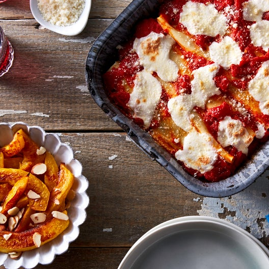 Kale & Ricotta Cannelloni with Roasted Acorn Squash