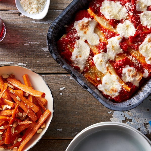 Kale & Ricotta Cannelloni with Roasted Carrots