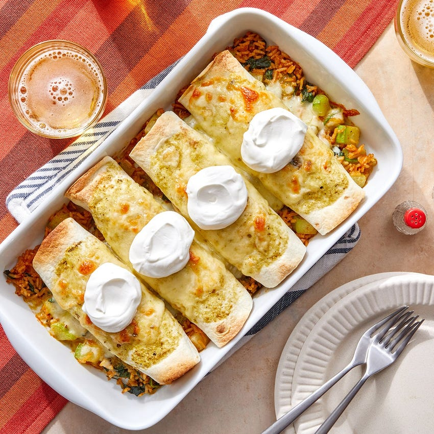 Cheesy Tomatillo Enchiladas with Chayote Squash, Spinach & White Rice
