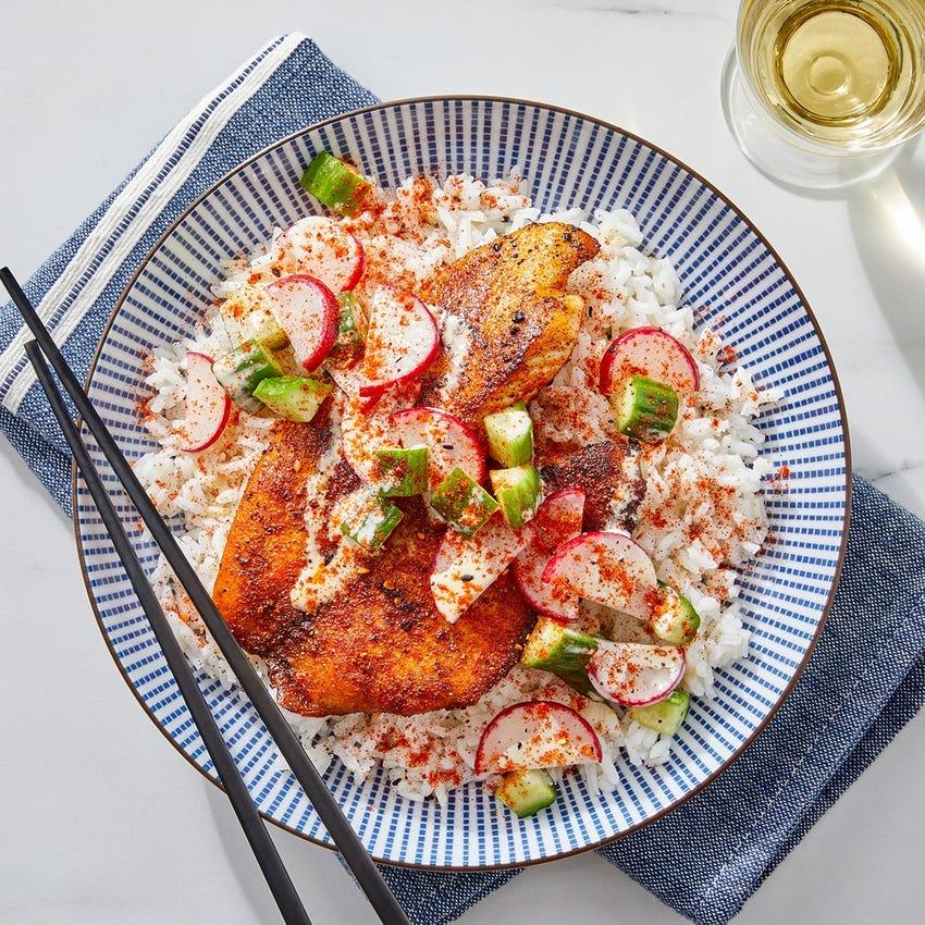 Togarashi Tilapia & Garlic Rice with Marinated Cucumber & Radishes