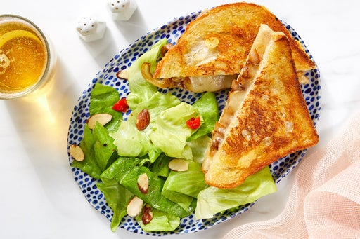 Caramelized Onion Grilled Cheese with Butter Lettuce Salad & Creamy Mustard Dressing