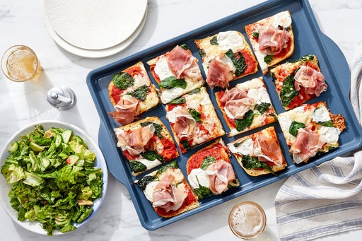 Prosciutto & Spinach Focaccia Pizza with Spicy Ranch-Dressed Salad